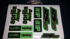 Aprilia RS125 DECALS STICKERS LIME GREEN BLACK DARK RED RS 125 Racing IP 9 piece